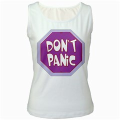 Purple Don t Panic Sign Women s Tank Top (white)
