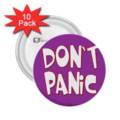 Purple Don t Panic Sign 2.25  Button (10 pack)
