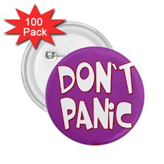 Purple Don t Panic Sign 2.25  Button (100 pack)