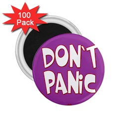 Purple Don t Panic Sign 2.25  Button Magnet (100 pack)