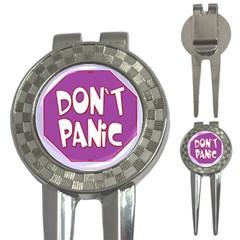 Purple Don t Panic Sign Golf Pitchfork & Ball Marker