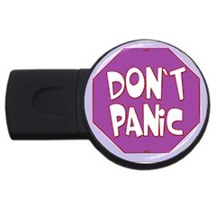Purple Don t Panic Sign 1GB USB Flash Drive (Round)