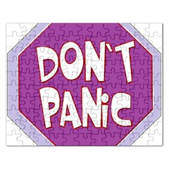 Purple Don t Panic Sign Jigsaw Puzzle (Rectangle)