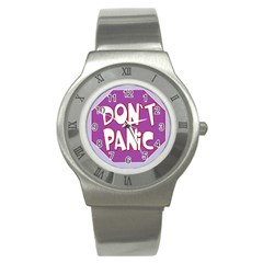 Purple Don t Panic Sign Stainless Steel Watch (Slim)