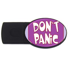 Purple Don t Panic Sign 4gb Usb Flash Drive (oval)