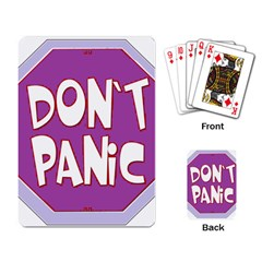 Purple Don t Panic Sign Playing Cards Single Design