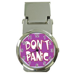 Purple Don t Panic Sign Money Clip With Watch