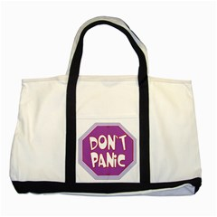 Purple Don t Panic Sign Two Toned Tote Bag