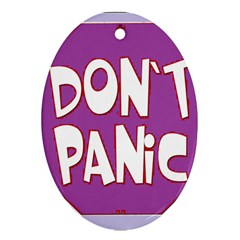 Purple Don t Panic Sign Oval Ornament (Two Sides)