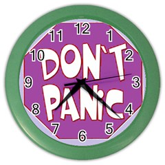 Purple Don t Panic Sign Wall Clock (Color)
