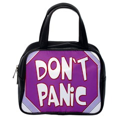 Purple Don t Panic Sign Classic Handbag (one Side)