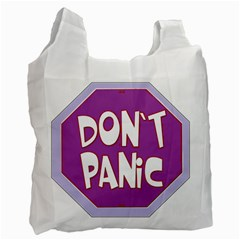 Purple Don t Panic Sign White Reusable Bag (One Side)