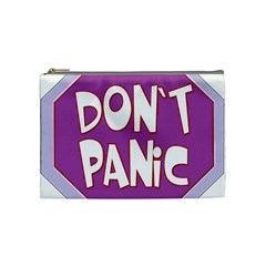 Purple Don t Panic Sign Cosmetic Bag (Medium)