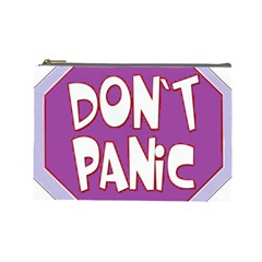 Purple Don t Panic Sign Cosmetic Bag (Large)