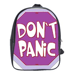 Purple Don t Panic Sign School Bag (large)