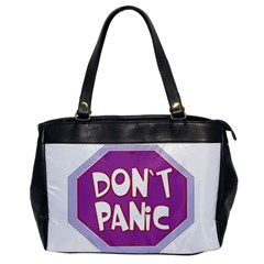 Purple Don t Panic Sign Oversize Office Handbag (One Side)
