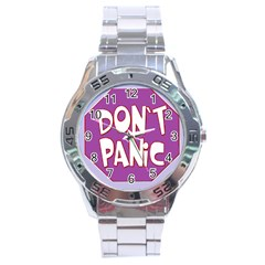 Purple Don t Panic Sign Stainless Steel Watch
