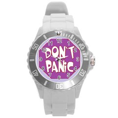 Purple Don t Panic Sign Plastic Sport Watch (Large)
