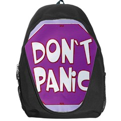 Purple Don t Panic Sign Backpack Bag