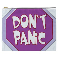 Purple Don t Panic Sign Cosmetic Bag (XXXL)
