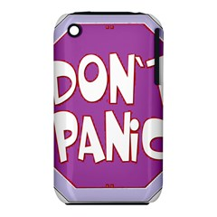 Purple Don t Panic Sign Apple iPhone 3G/3GS Hardshell Case (PC+Silicone)