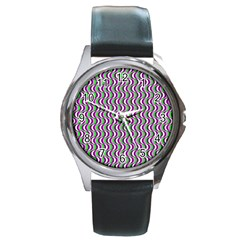Pattern Round Leather Watch (silver Rim)
