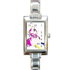 Untitled 3 Colour Rectangular Italian Charm Watch