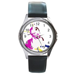 Untitled 3 Colour Round Leather Watch (Silver Rim)