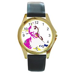 Untitled 3 Colour Round Leather Watch (Gold Rim)