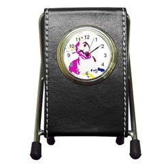 Untitled 3 Colour Stationery Holder Clock