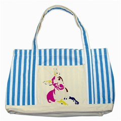 Untitled 3 Colour Blue Striped Tote Bag