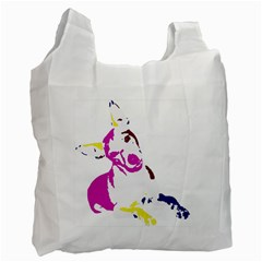 Untitled 3 Colour White Reusable Bag (two Sides)