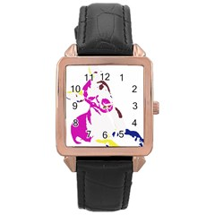 Untitled 3 Colour Rose Gold Leather Watch