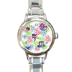 Patriot Fireworks Round Italian Charm Watch