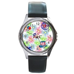 Patriot Fireworks Round Leather Watch (Silver Rim)