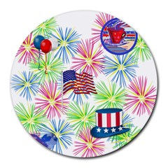 Patriot Fireworks 8  Mouse Pad (round)