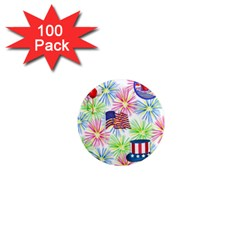 Patriot Fireworks 1  Mini Button Magnet (100 pack)
