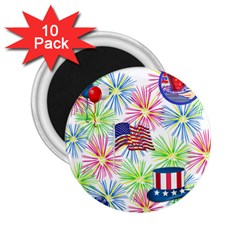 Patriot Fireworks 2 25  Button Magnet (10 Pack)