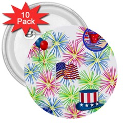 Patriot Fireworks 3  Button (10 pack)