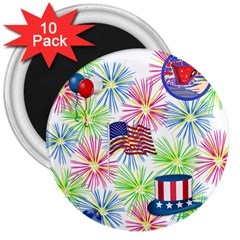 Patriot Fireworks 3  Button Magnet (10 Pack)