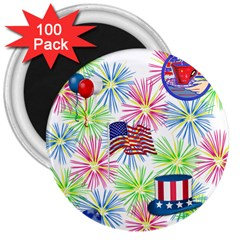 Patriot Fireworks 3  Button Magnet (100 Pack)