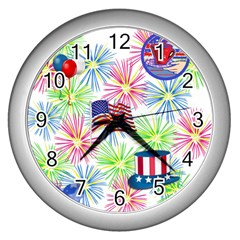 Patriot Fireworks Wall Clock (silver)