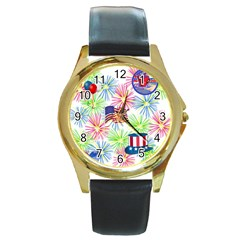 Patriot Fireworks Round Leather Watch (gold Rim)