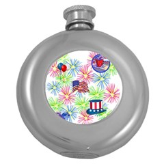 Patriot Fireworks Hip Flask (Round)