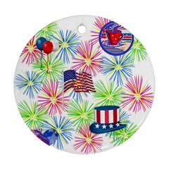 Patriot Fireworks Round Ornament (Two Sides)