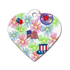 Patriot Fireworks Dog Tag Heart (Two Sided)
