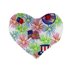 Patriot Fireworks 16  Premium Heart Shape Cushion
