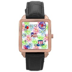Patriot Fireworks Rose Gold Leather Watch
