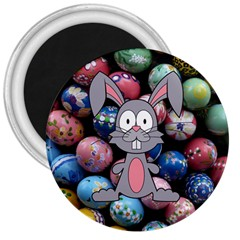 Easter Egg Bunny Treasure 3  Button Magnet