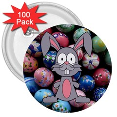 Easter Egg Bunny Treasure 3  Button (100 pack)